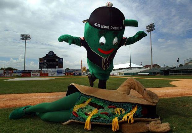 Ballapeno and Puffy Taco of the San Antonio Missions Minor League baseball team.